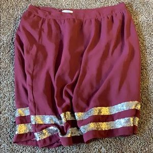 Downeast Maroon Sequin Skirt